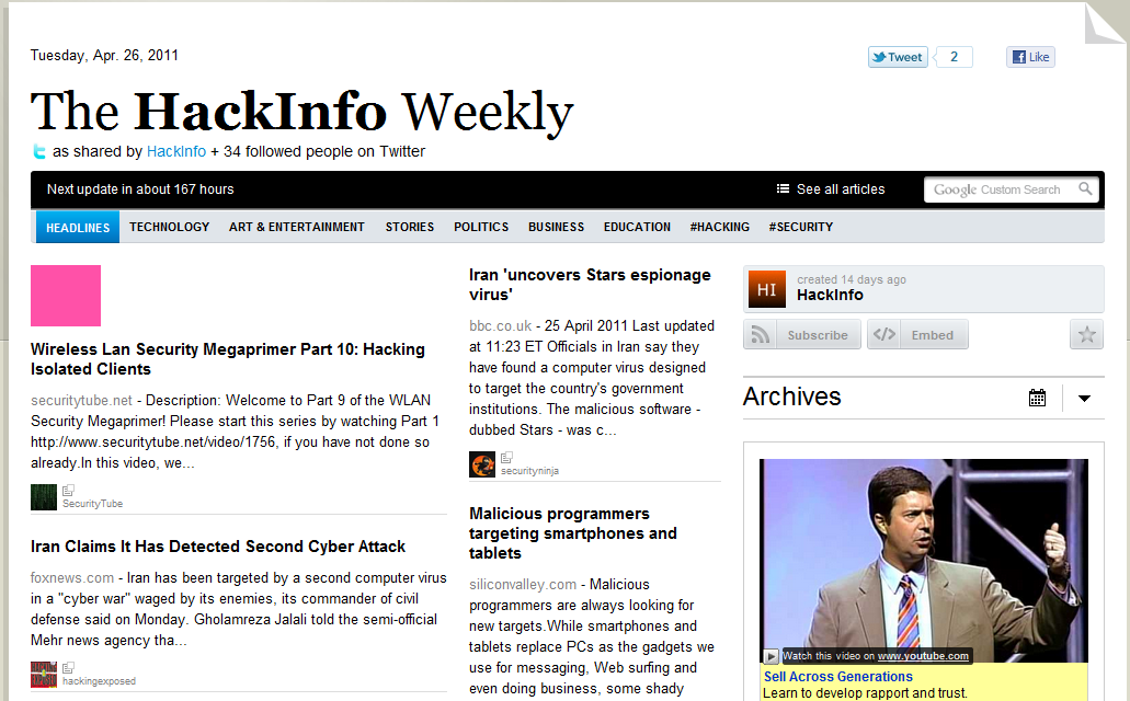 2011-04-26 - The HackInfo weekly